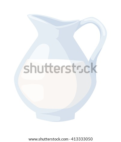 Natural whole milk in a jug and a glass isolated on white background. Natural milk jug and fresh milk jug. White milk jug and healthy milk jug product glass beverage food. Natural organic milk. - stock vector