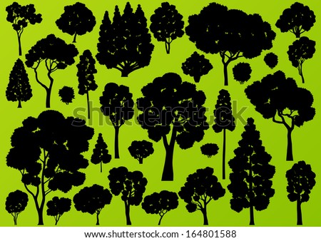 Natural wild tree, bush and scrub plants detailed forest silhouettes illustration collection background vector - stock vector