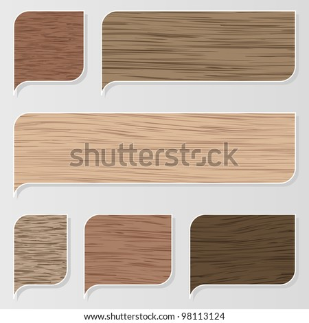 Natural wood texture speech bubbles and balloons illustration collection background vector - stock vector