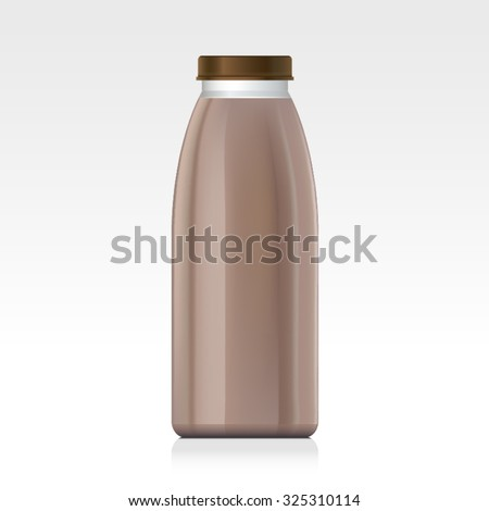 Naturalistic plastic, glass bottle of juice, jam, milk, sugar water, tea. Mock up packing with design label or badges. Chocolate milk. - stock vector