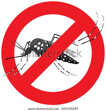 Nature, Aedes Aegypti mosquitoes stilt with forbidden sign. Ideal for informational and institutional related sanitation and care - stock vector