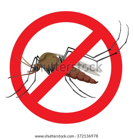 Nature, Aedes aegypti mosquitoes stilt with prohibited sign. Ideal for informational and institutional related sanitation and care - stock vector