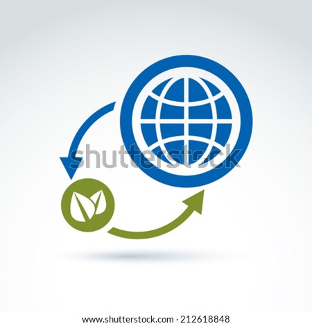 Nature and earth connection symbol, conceptual circulation sign, ecosystem symbol.  Ecology vector icon on planetary resources idea. - stock vector