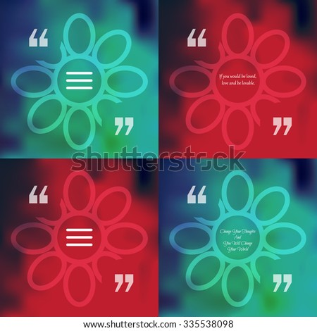 Nature and ecology template of square quote text bubble  in form of flower. Motivation quote. Change Your Thoughts And You Will Change Your World. Vector - stock vector
