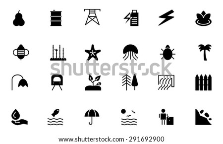 Nature and Ecology Vector Icons - stock vector