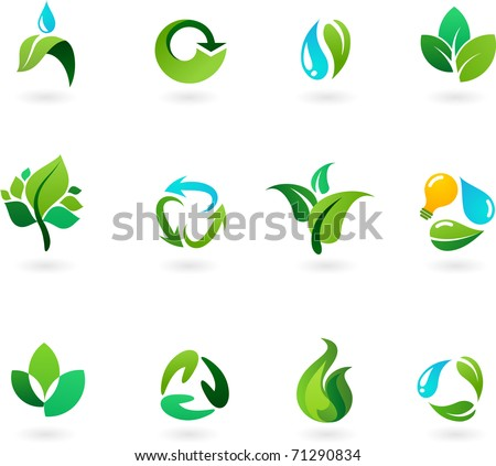 Nature and environment icon set - stock vector