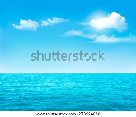 Nature background - blue ocean and blue cloudy sky. Vector. - stock vector