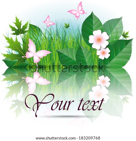 Nature Background, Green Grass And pink Butterflies with space for text  Vector Illustration - stock vector