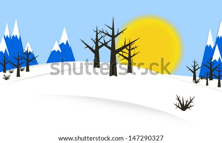 Nature background template winter with sun, trees, mountains and snow | vector nature design | christmas
