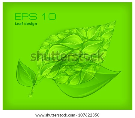 Nature background with abstract leaves on green & text, vector illustration