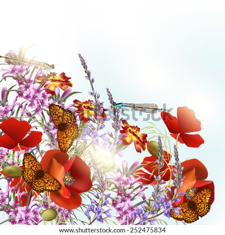 Nature background with field flowers and butterflies - stock vector