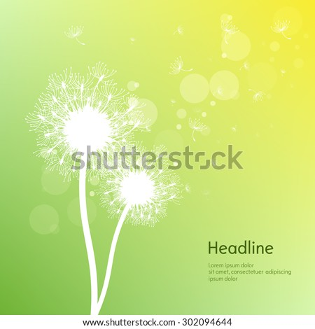 Nature background with flying fluff. Trendy floral green background with place for text. Abstract beautiful spring or summer wallpaper. Vector illustration. - stock vector