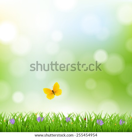 Nature Background With Grass Border And Flowers With Gradient Mesh, Vector Illustration - stock vector