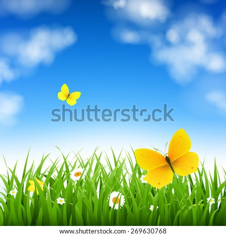 Nature Background With Grass With Gradient Mesh, Vector Illustration - stock vector