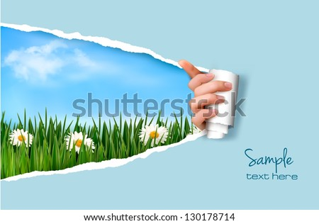 Nature background with green grass and sky and ripped paper. Vector illustration. - stock vector
