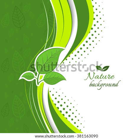 Nature background with green leaves, wavy pattern and halftone effect/Vector illustration.