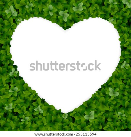 Nature background with heart shape border. - stock vector