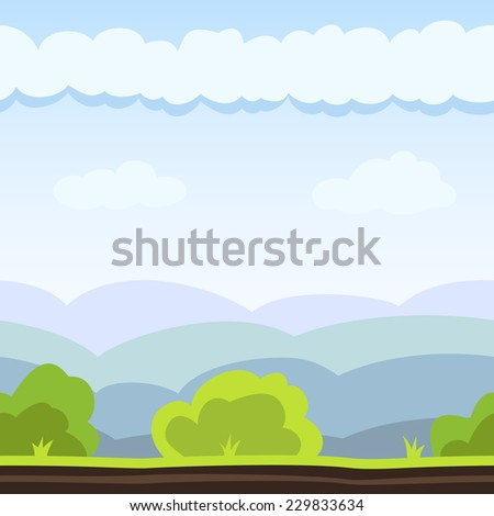 Nature background with hill, bush and cloud. Vector illustration for landscape design. Seamless tileable game background. - stock vector