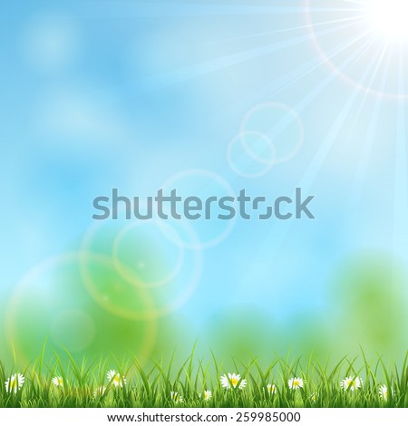 Nature background with Sun, grass and flowers, illustration. - stock vector