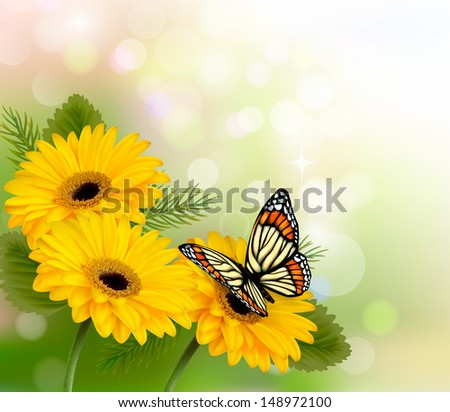 Nature background with yellow beautiful flowers and butterfly. Vector illustration - stock vector