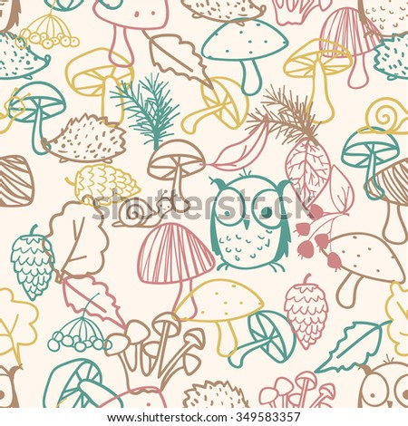 Mushroom Tree Animals Plants Endless Pattern Surface Design