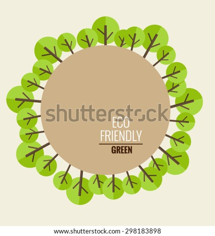 Nature banner. Ecology concept with tree background. Vector illustration. - stock vector