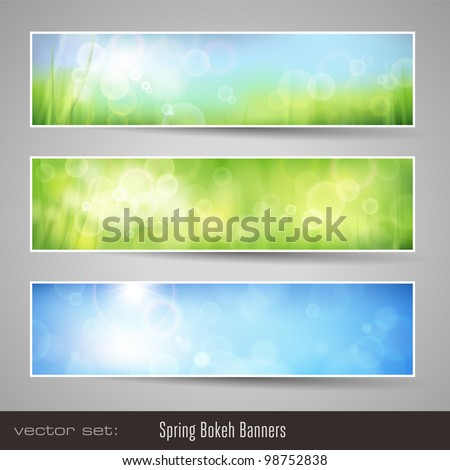 nature bokeh banners - three soft seasonal banners with grass and blue sky - stock vector