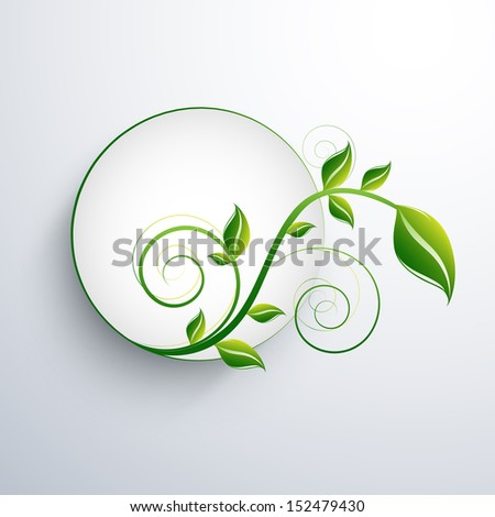 Nature concept with green leafs and space for your text on abstract grey background.  - stock vector