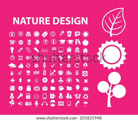 nature design, biology, environment icons, signs, symbols set, vector - stock vector