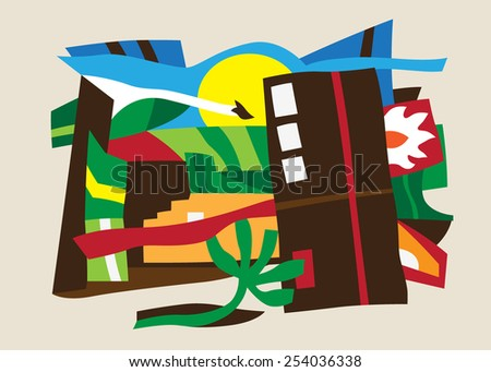 nature , ecology , city - abstract background - stock vector