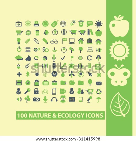 nature, ecology concept icons, signs set, vector