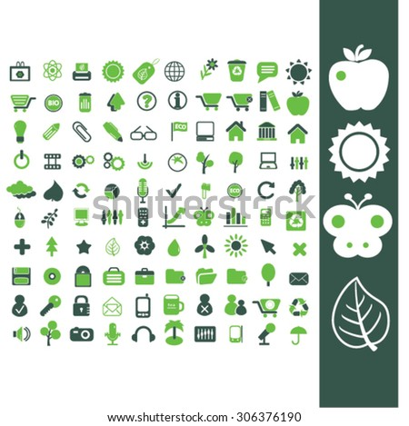 nature, ecology icons - stock vector
