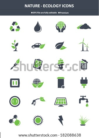Nature & Ecology icons,Green & Gray version,vector - stock vector