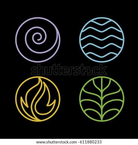 Nature 4 Elements Circle Line Logo Stock Vector Royalty Free