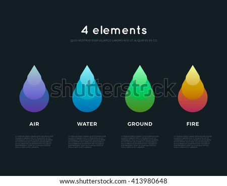 Nature elements. Water, Fire, Earth, Air. Infographic elements on dark background. Renewable energy. Ecology logos, emblems or cards. Alternative energy sources. Eco elements. Ecology logo. Eco logo - stock vector