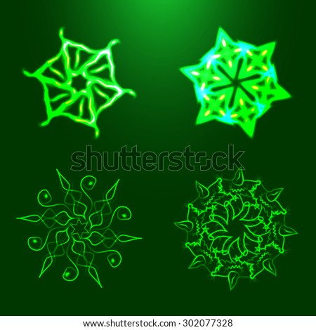 Nature elements with adaptation to background. Green fractals. Nature fractals. Fractal logo for your company. Spiral fractals. Fractals with adaptation to background. Spiritual fractals. Fractals. - stock vector