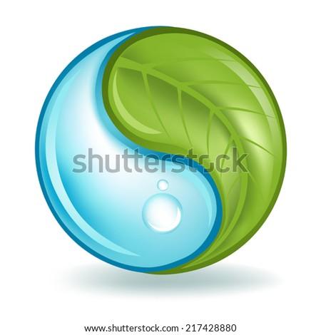 Nature Elements Yin Yang - stock vector
