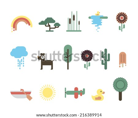 Nature flat design icons for kids. - stock vector