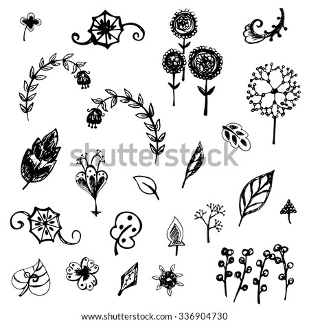nature flower and leaves vector symbol free hand drawing
