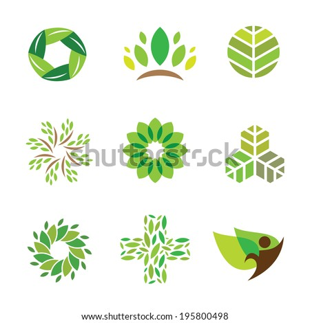 Nature green eco help care for healthy life logo icon - stock vector