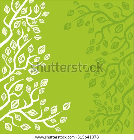 Nature green  pattern card leaves vector illustration - stock vector