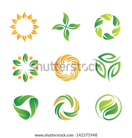 Nature healthy food loop logo vector icons template - stock vector