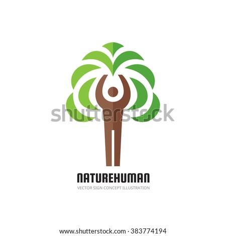 Nature human - vector logo concept illustration. Ecology logo sign. Nature logo sign. Eco logo sign. Human character logo. People logo. Tree logo. Vector logo template. Design element. - stock vector