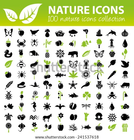 nature icons collection - stock vector