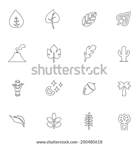 Nature icons line drawing by hand Set 7