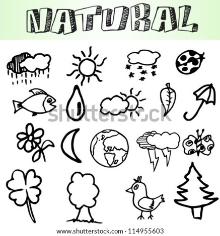 nature icons set, hand draw
