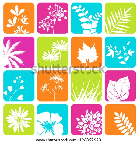 Nature icons set. Illustration vector. - stock vector