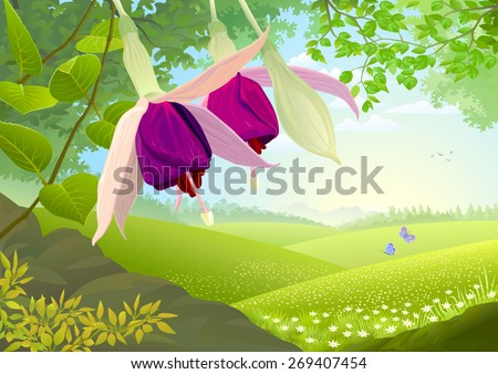 Nature Illustration with Beautiful violet flowers and grassland - stock vector