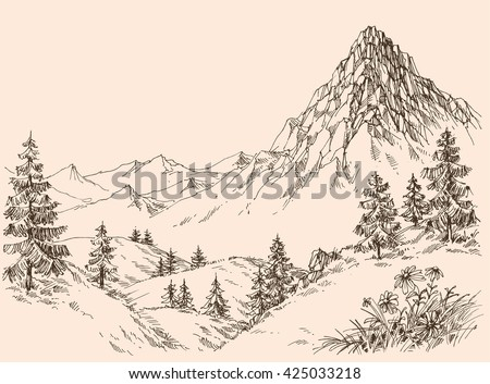 Nature in the mountains vector - stock vector
