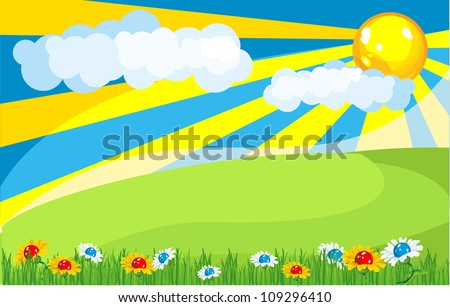 Nature in the sky shining bright rays of the sun illuminates the huge fields and meadows blooming summer flowers - stock vector